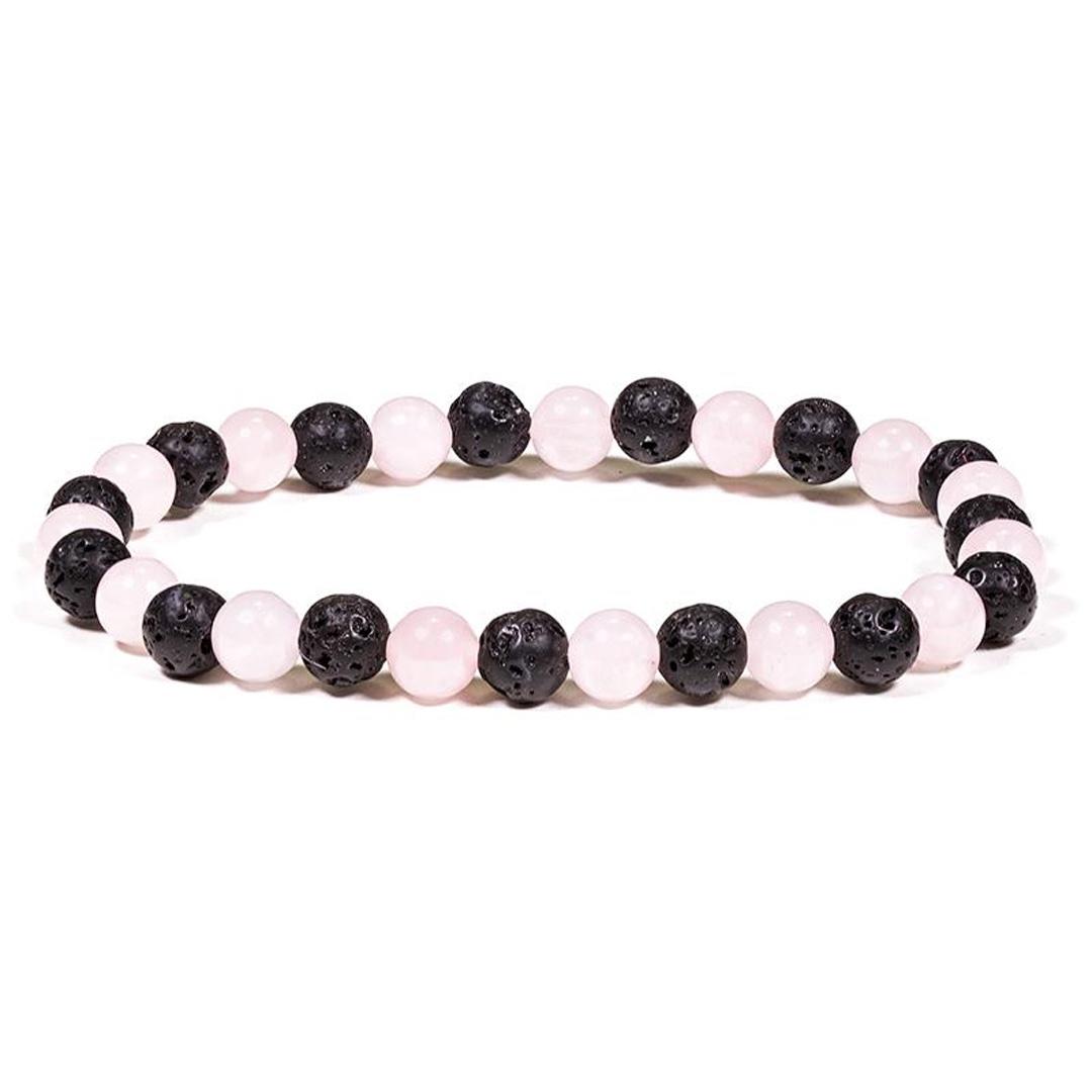 Armband med ädelstenar - Lava & Rose quartz