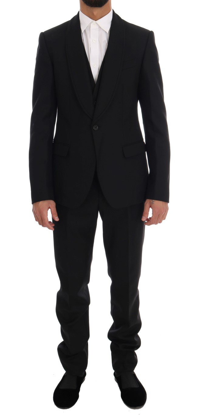 Dolce & Gabbana Men's Wool One Button Blazer Black KOS1114 - IT48   M