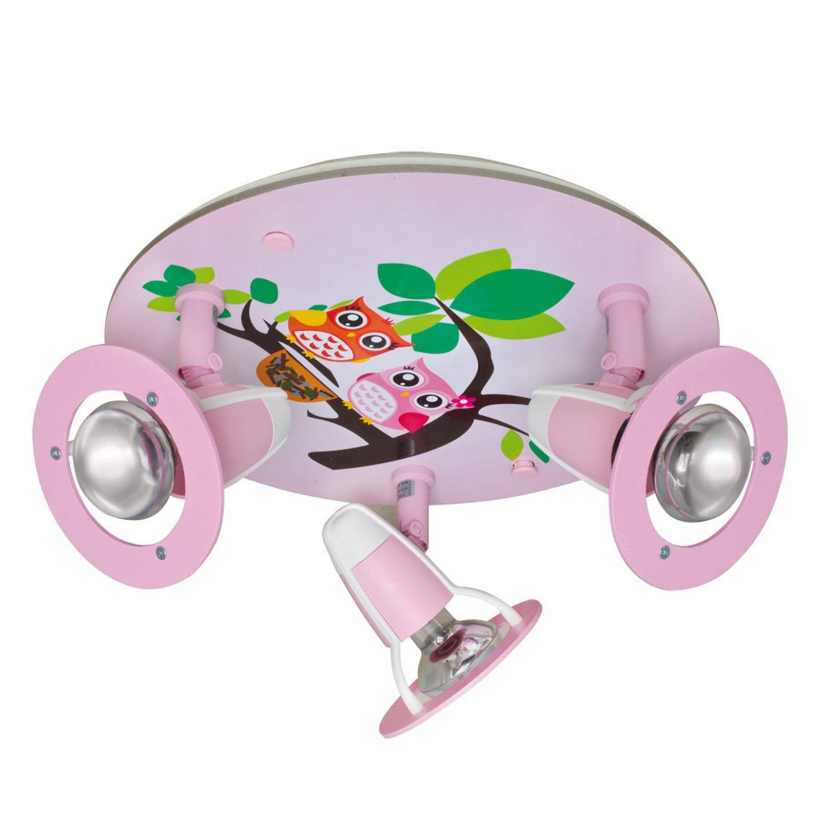 Lastenhuoneen Pöllö-kattovalaisin, roosa