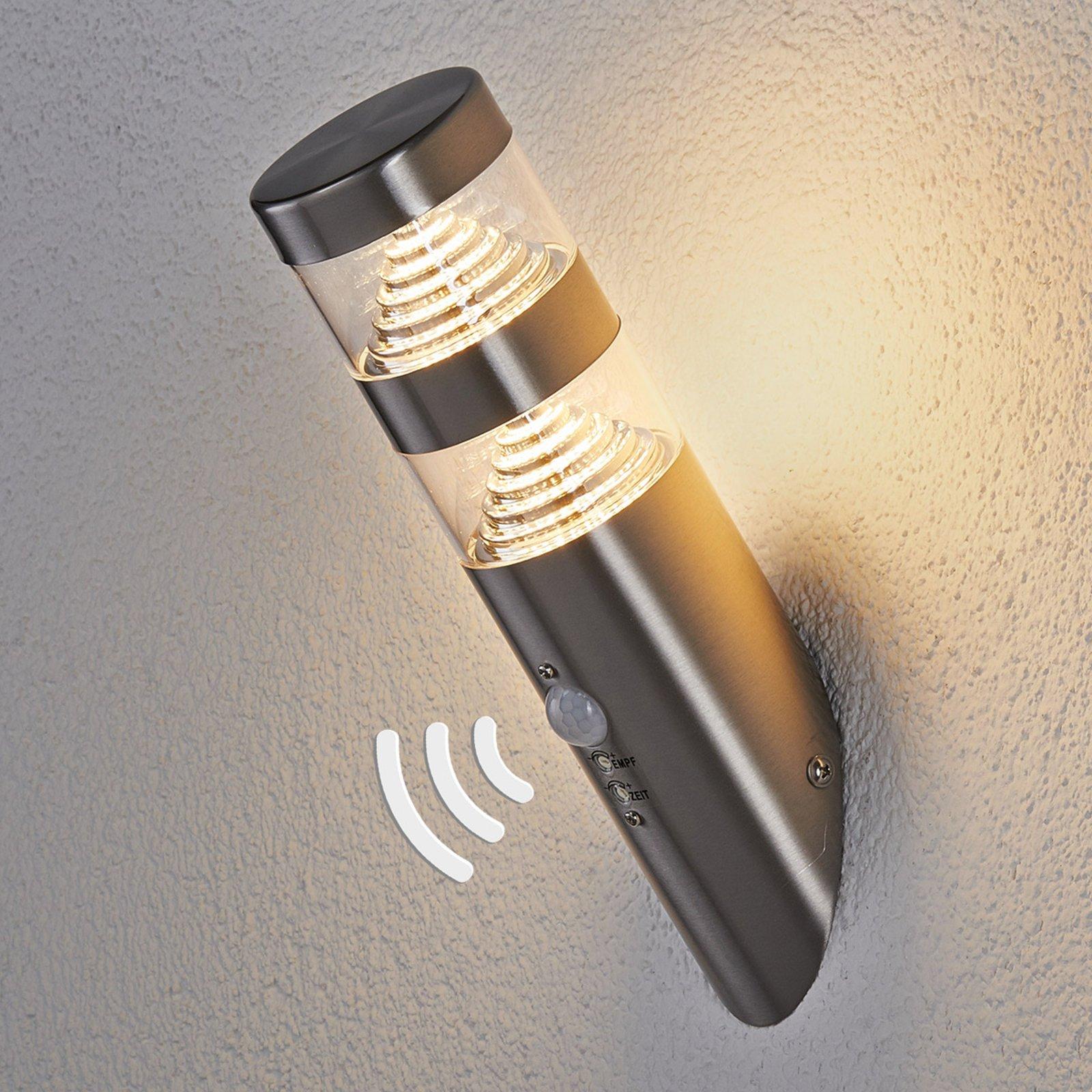 LED-utendørs vegglampe Lanea skrå sensor