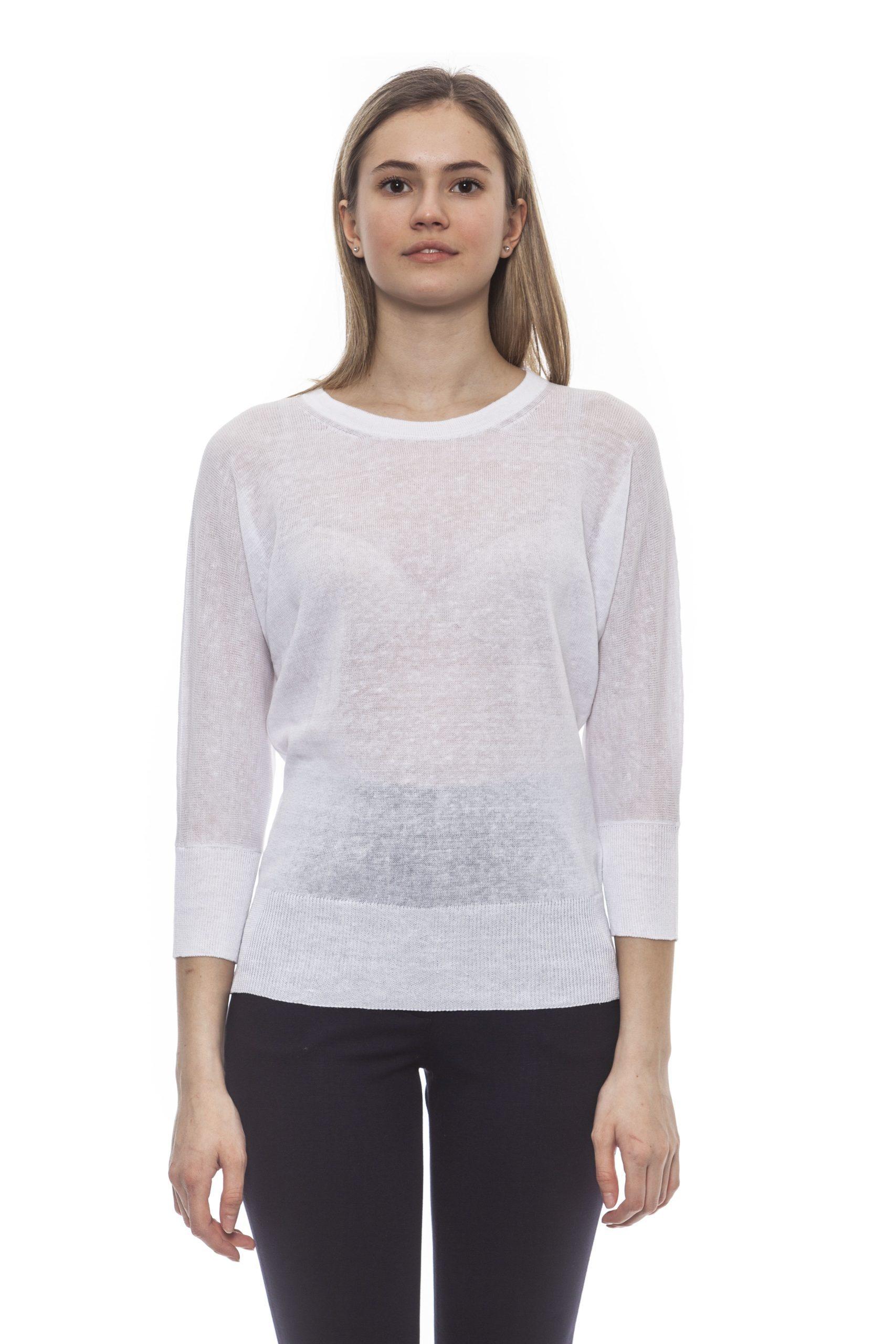 Peserico Women's Bianco Sweater White PE1382023 - IT42 | S