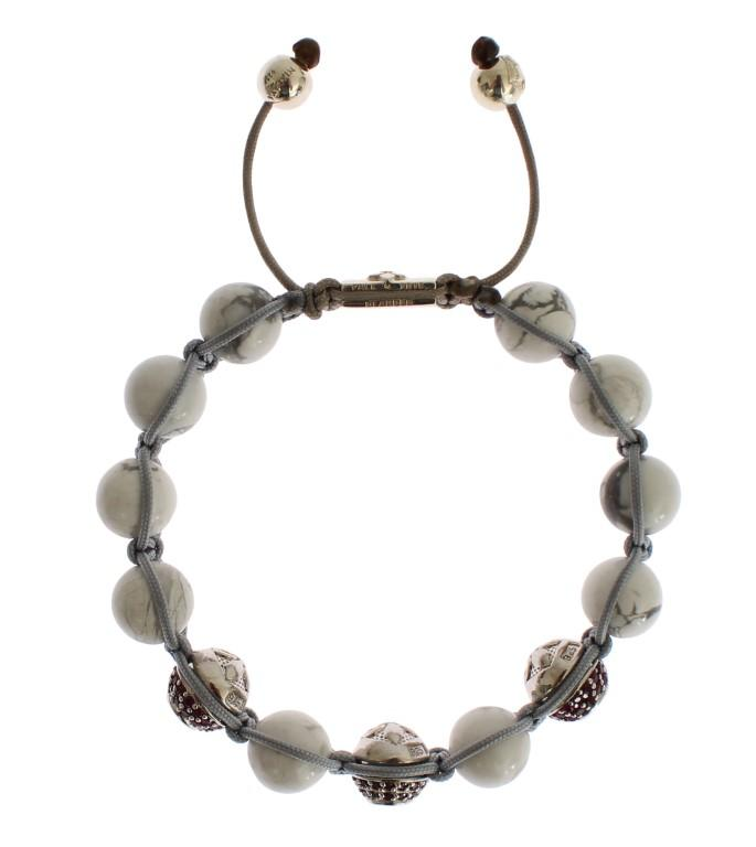 Nialaya Women's CZ Howlite Sterling 925 Bracelet White SIG19034 - S