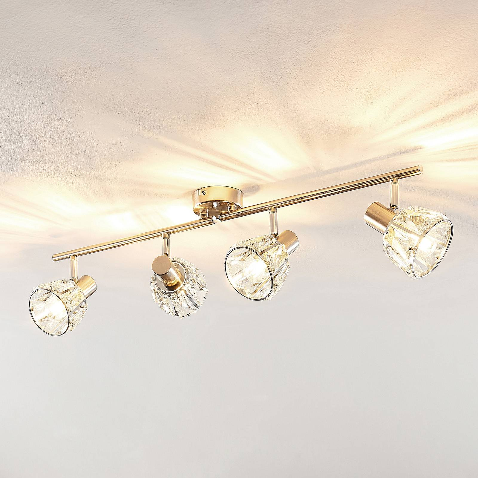 Lindby Kosta -kattovalaisin, 4-lamp., nikkeliä