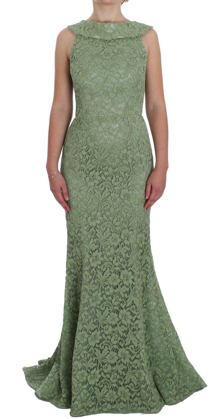 Dolce & Gabbana Women's Floral Lace Sheath Dress Green NOC10105 - IT40 S