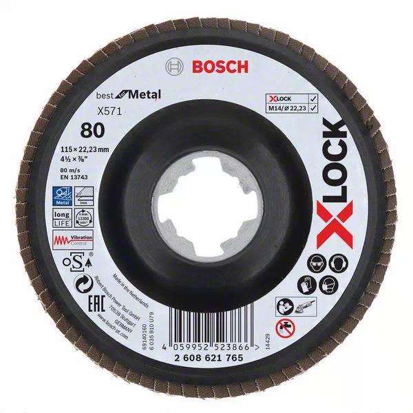 Bosch Best for Metal Lamellslipeskive med X-LOCK X571, vinklet 115 mm, G 80