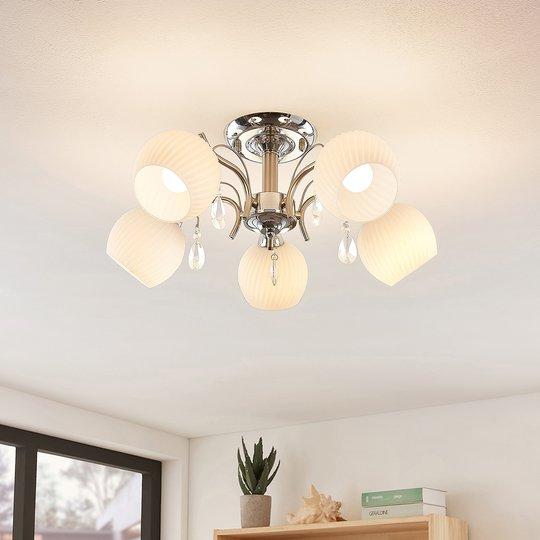 Lindby Feodora -kattovalaisin lasia, 5-lamppuinen