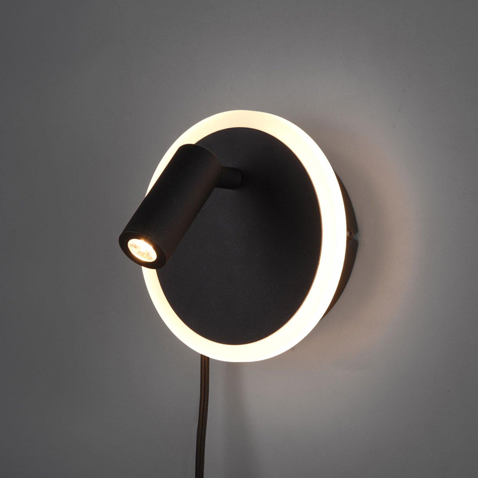 LED-vegglampe Jordan, 2 lyskilder, svart