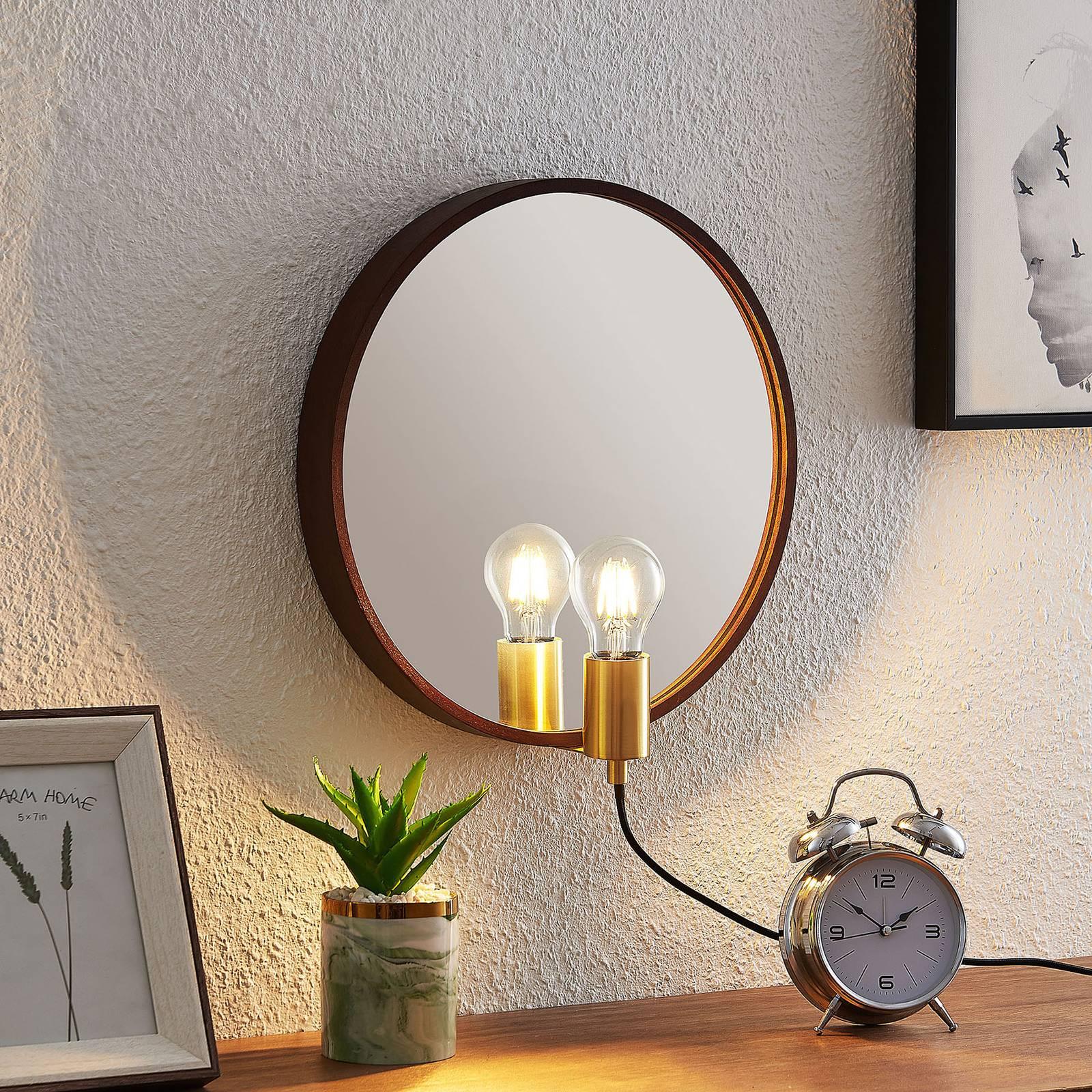 Lucande Lumani -seinävalaisin peilillä, ruskea