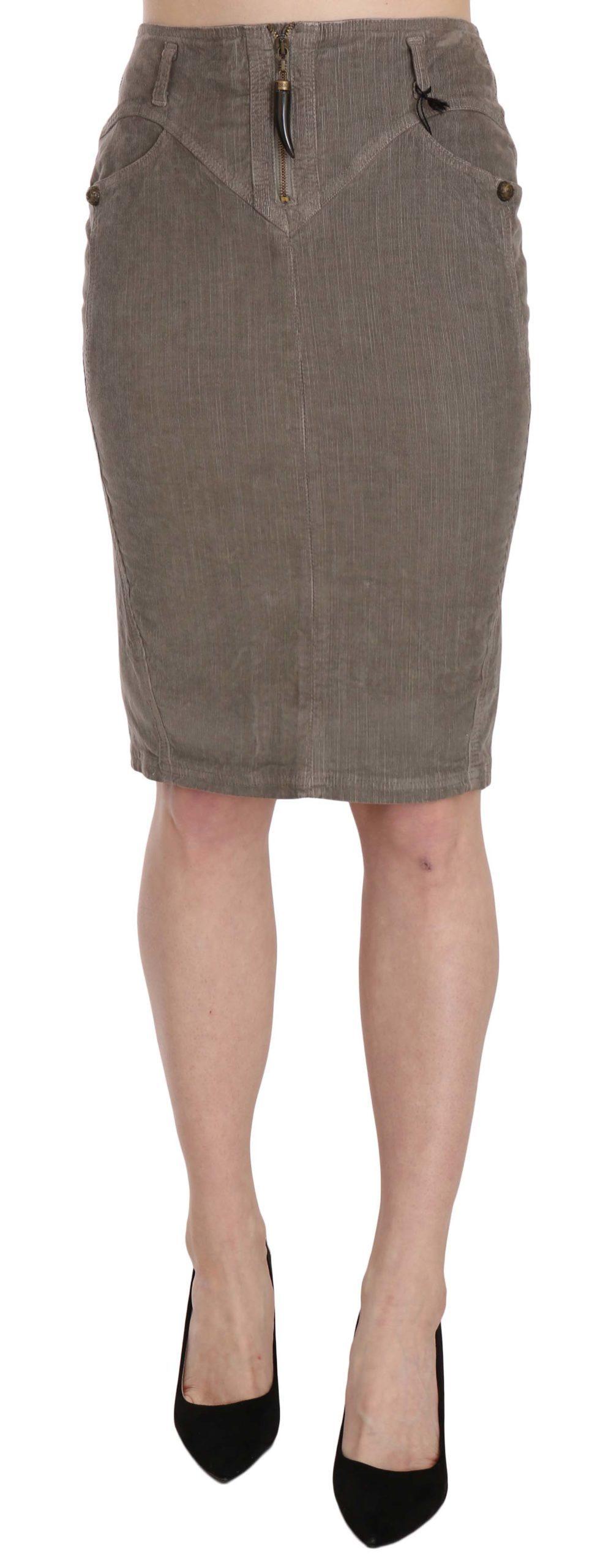 Just Cavalli Women's Corduroy Straight A-Line Skirt Gray PAN70326 - IT40|S