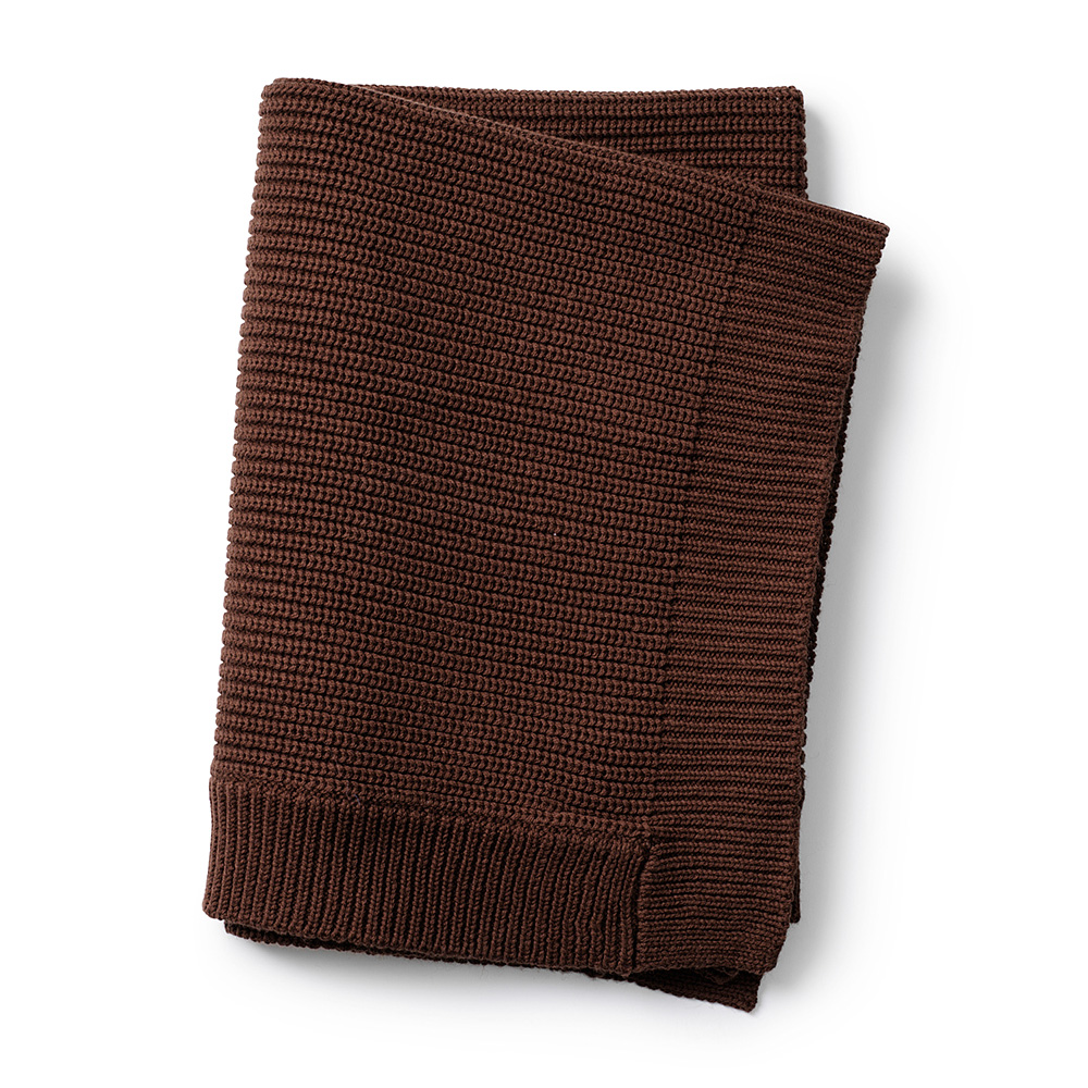 Wool Knitted Blanket - Chocolate