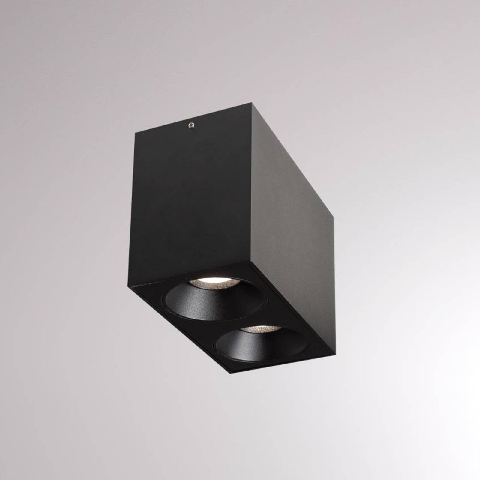 LOUM Atus Square -LED-kattovalo, 2-lamp., musta