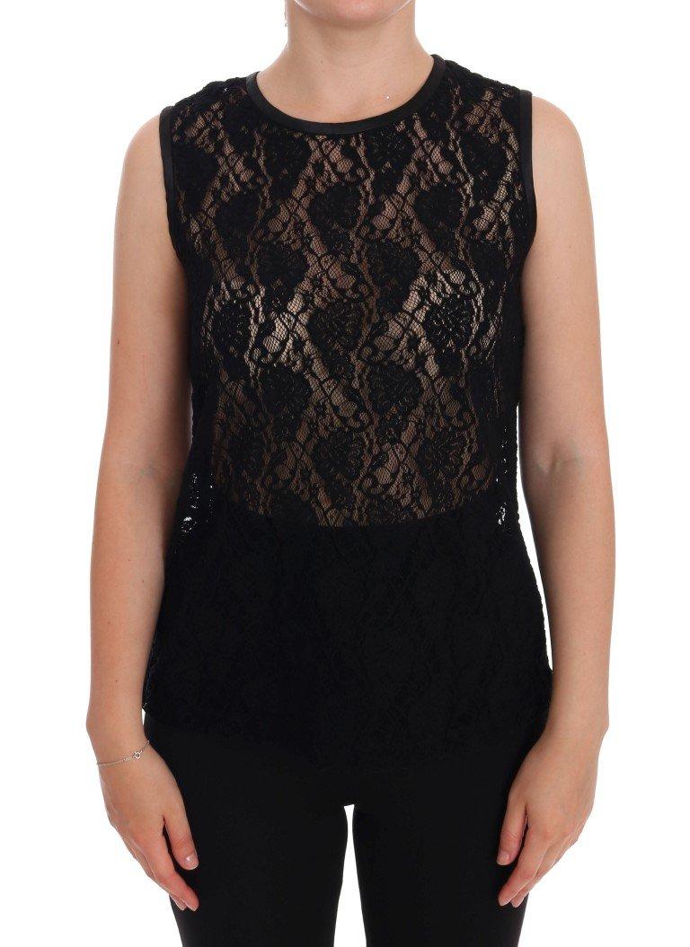 Dolce & Gabbana Women's Ricamo Lace Transparent Top Black TSH1115 - IT44 L