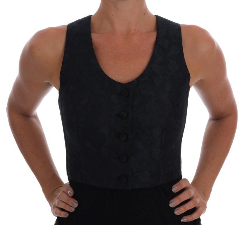 Dolce & Gabbana Women's Silk Baroque Brocade Top Black TSH1543 - IT40|S