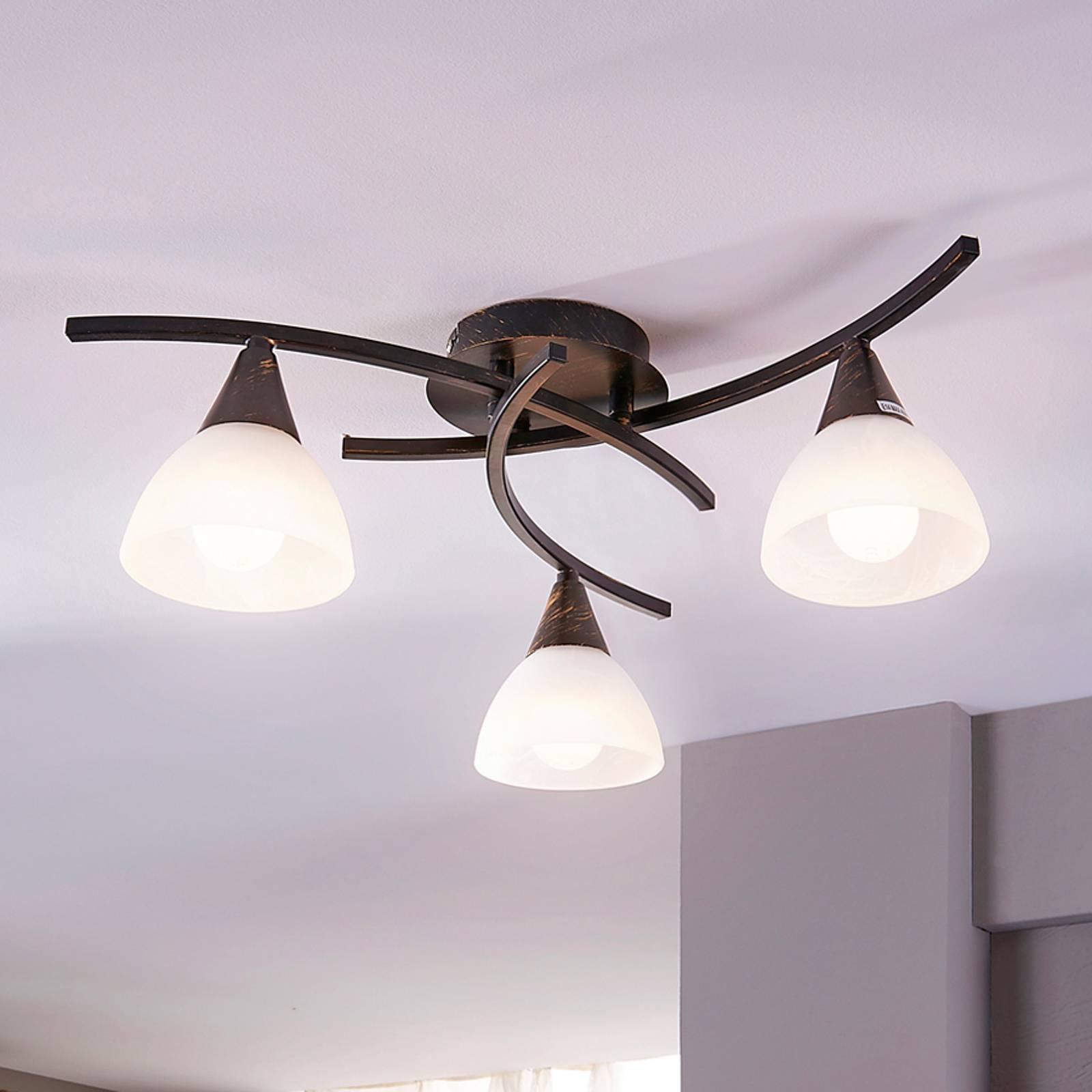 Tre-armet LED-taklampe Della, svart-gull