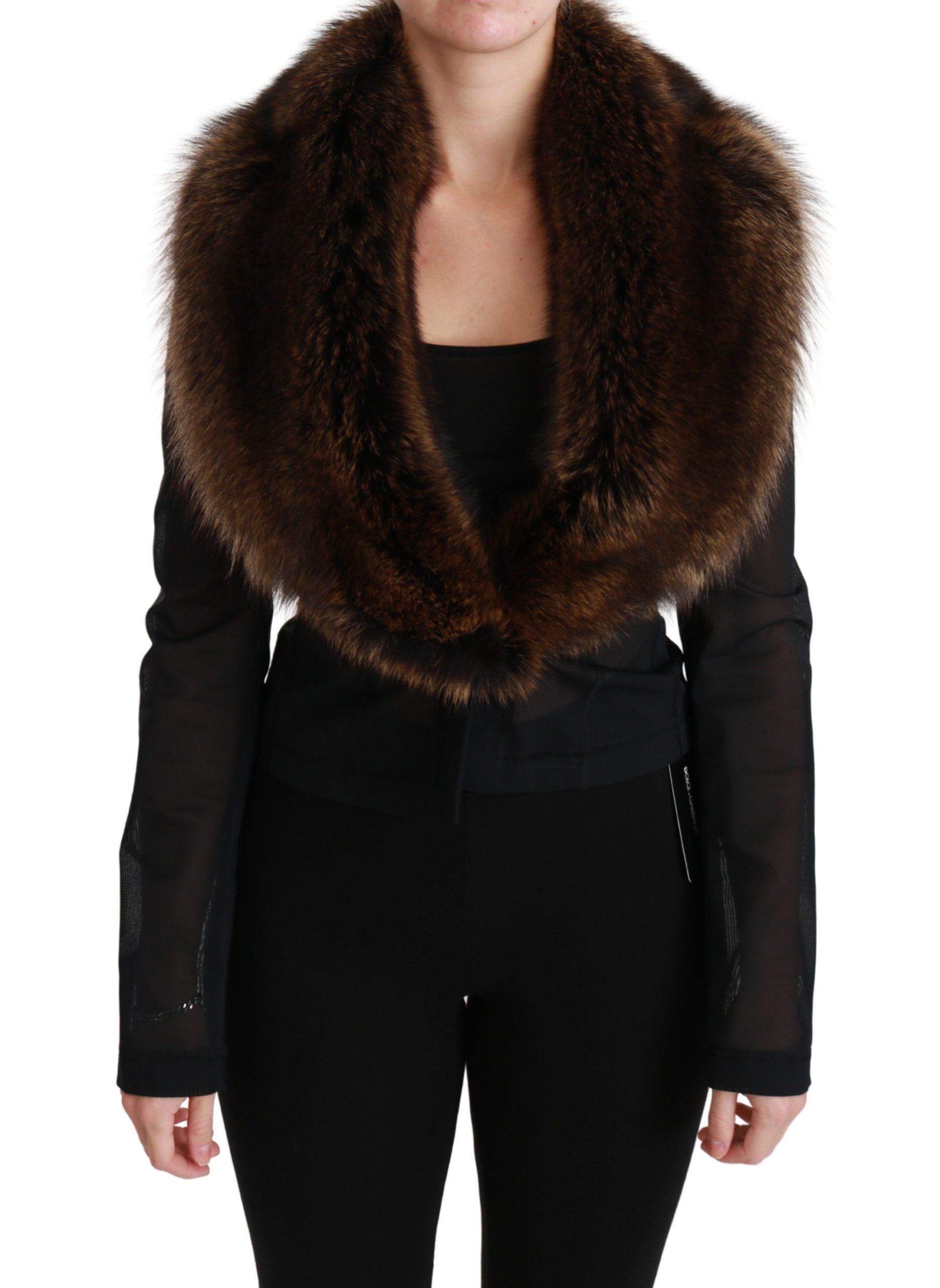 Dolce & Gabbana Women's Fur Cropped Nylon Blazer Black JKT2576 - IT40|S