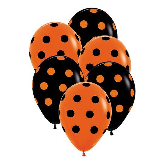 Ballonger Svart/Orange Prickiga - 6-pack