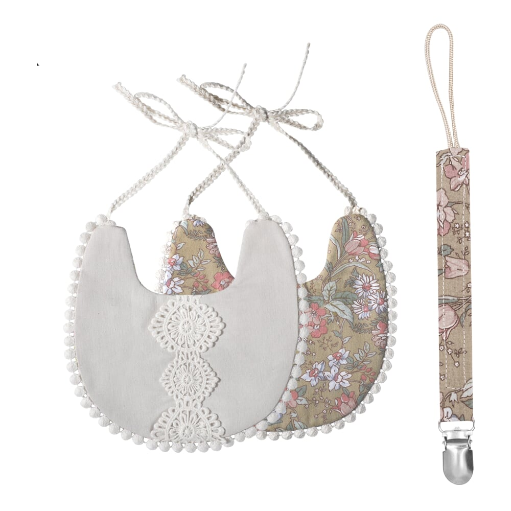 That's Mine - Double-Sided Bib With Pacifier - Warm Grey (DB165)