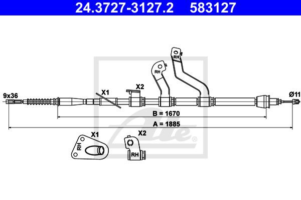 Käsijarruvaijeri ATE 24.3727-3127.2
