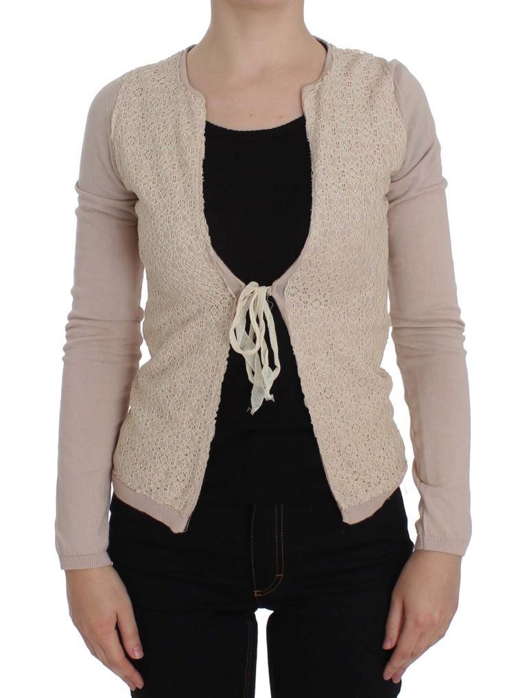 Pink Floral Lace Wrap Sweater - IT42|M