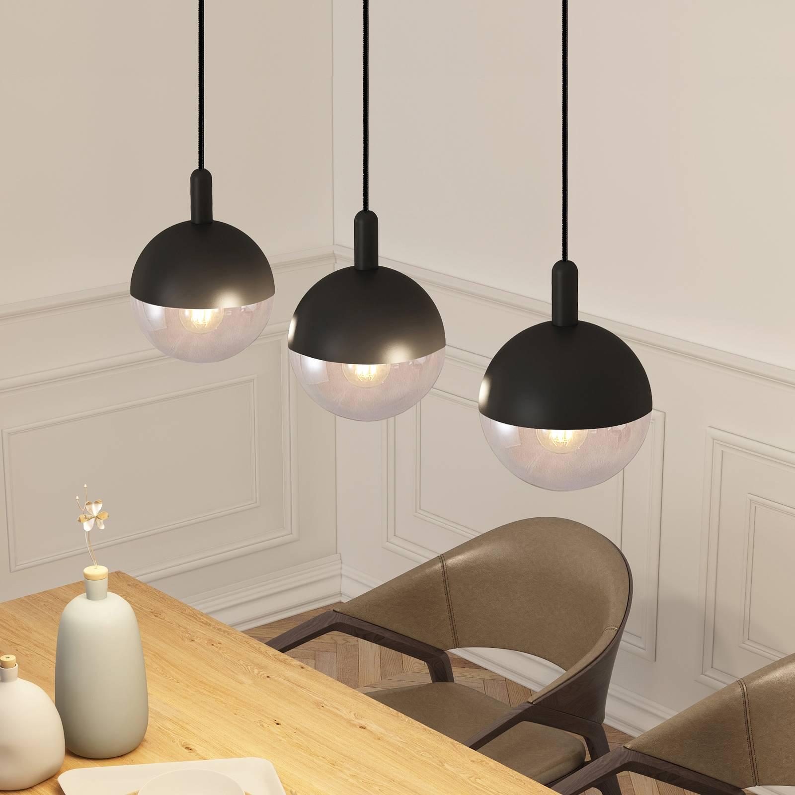 Lucande Dustian -riippuvalo, 3-lamp., 90 cm