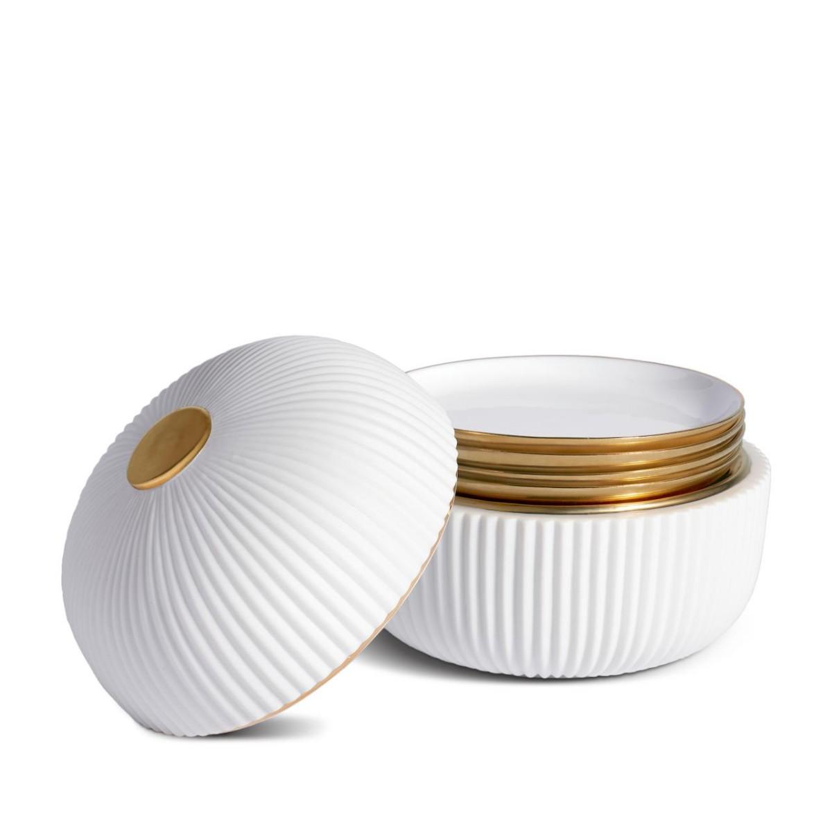 L'Objet I Ionic Box + Plates (Set of 4)