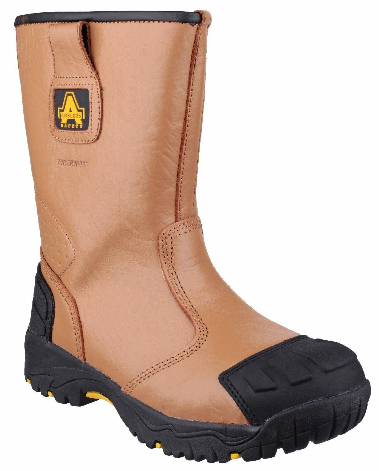 Amblers Unisex Safety Waterproof pull on Rigger Boot Tan 21835 - Tan 6