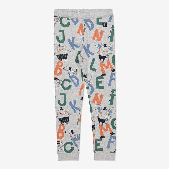 Bukse med bokstavtrykk gråmelange