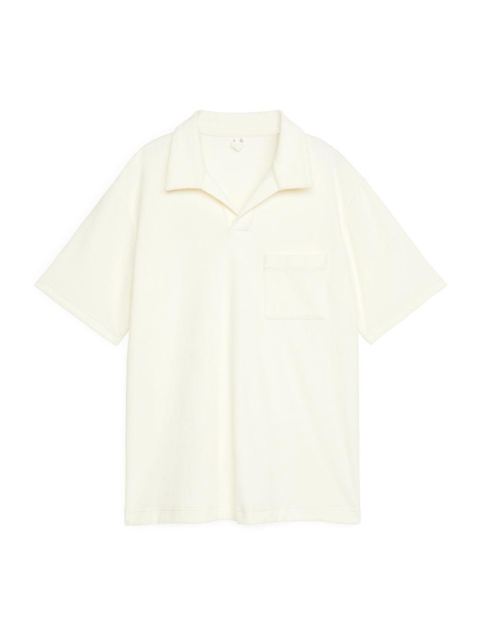 Cotton Towelling Polo Shirt - White