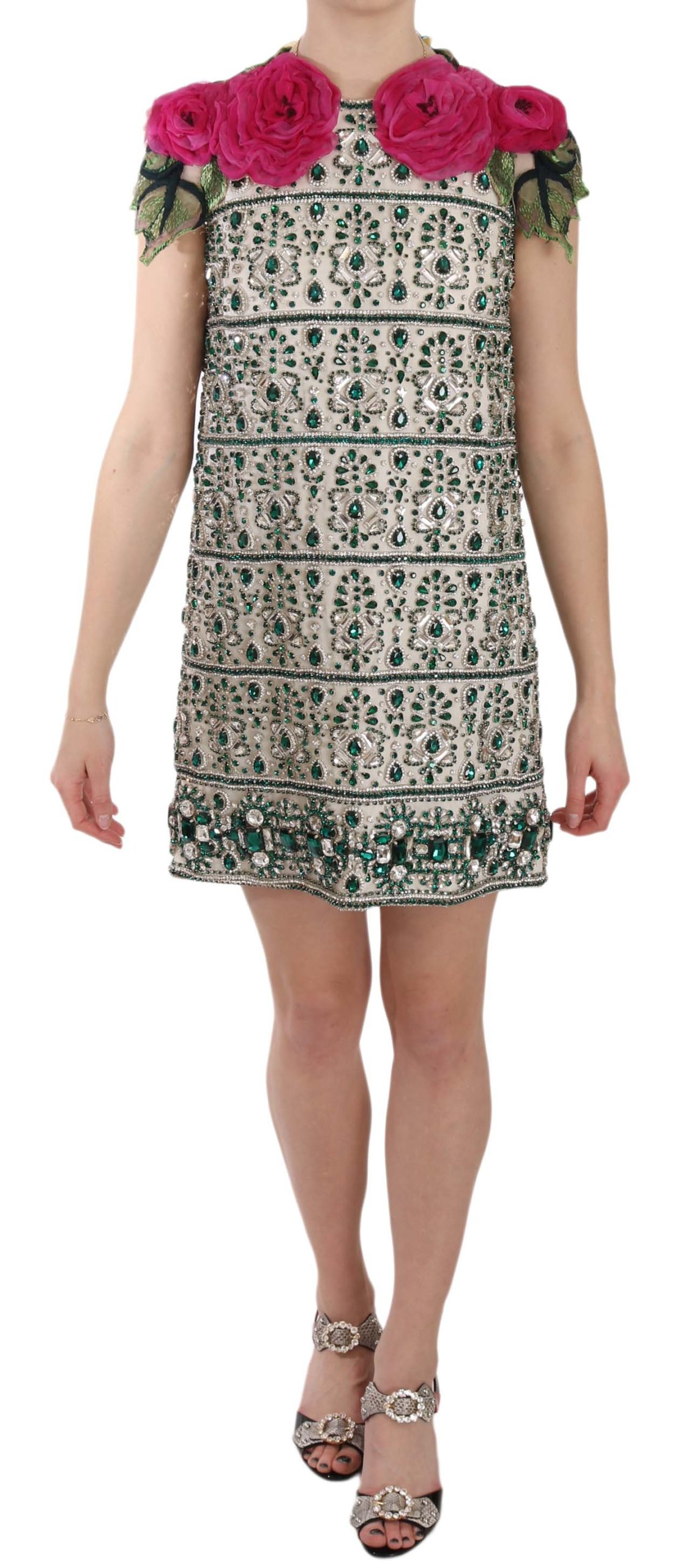 Dolce & Gabbana Women's Crystal Jewel Floral Sleeves Mini Dress Beige DR1624 - IT38 | S