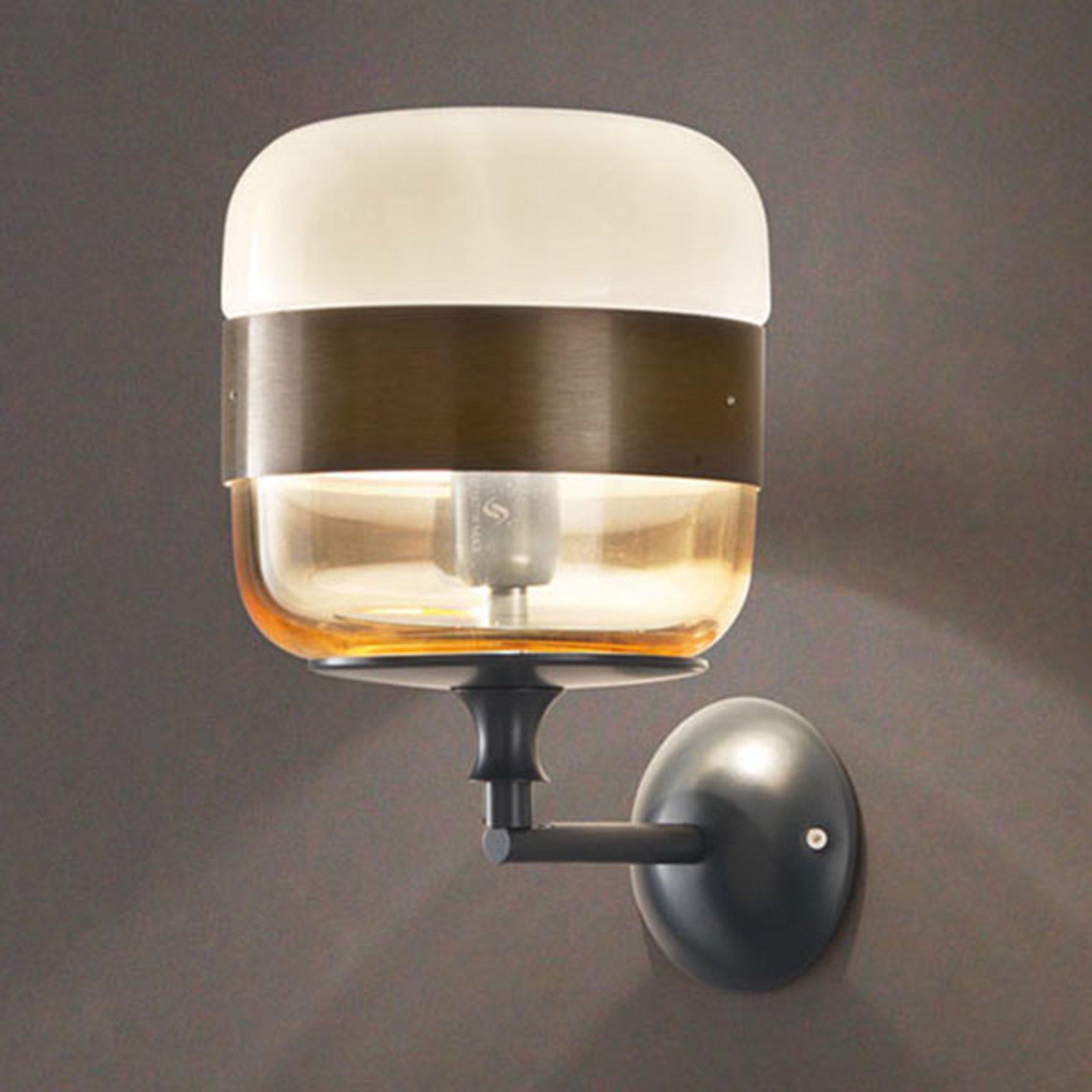 Designer-vegglampe Futura av glass, bronse