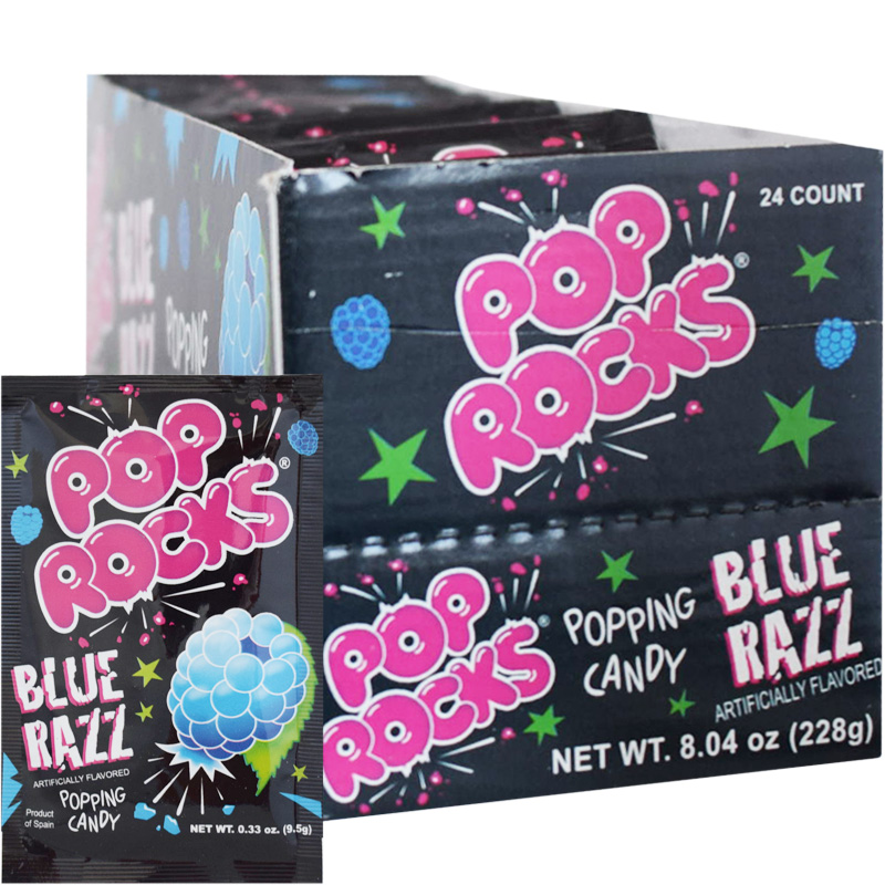 Laatikollinen Pop Rocks Blue Razz Makeispussia 24 x 9,5g - 47% alennus
