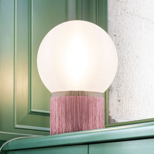 Slamp Atmosfera -pöytävalaisin Fringe 20 cm roosa
