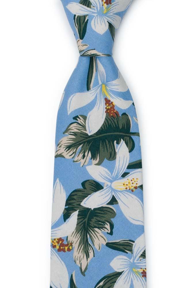 Bomull Slips, Hvite og grønne Hawaii-blomster på lyseblått, Blå, Blomster