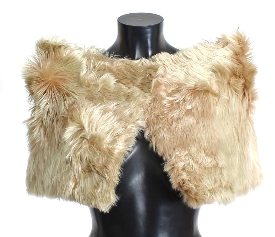 Dolce & Gabbana Women's Alpaca Fur Shoulder Wrap Scarf Beige MOM24950