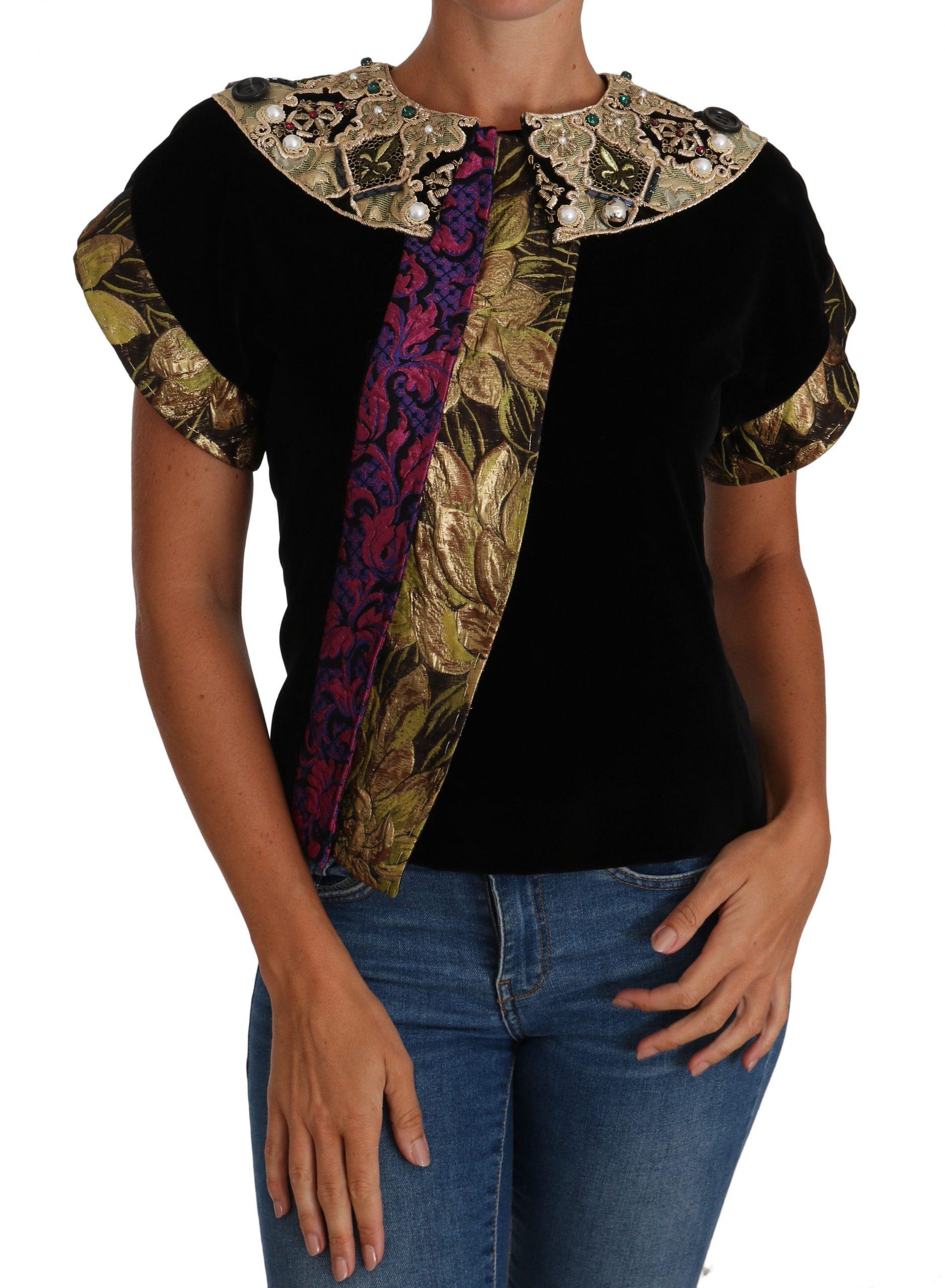 Black Gold Embellished Jaquard Velvet Jacket - IT40|S