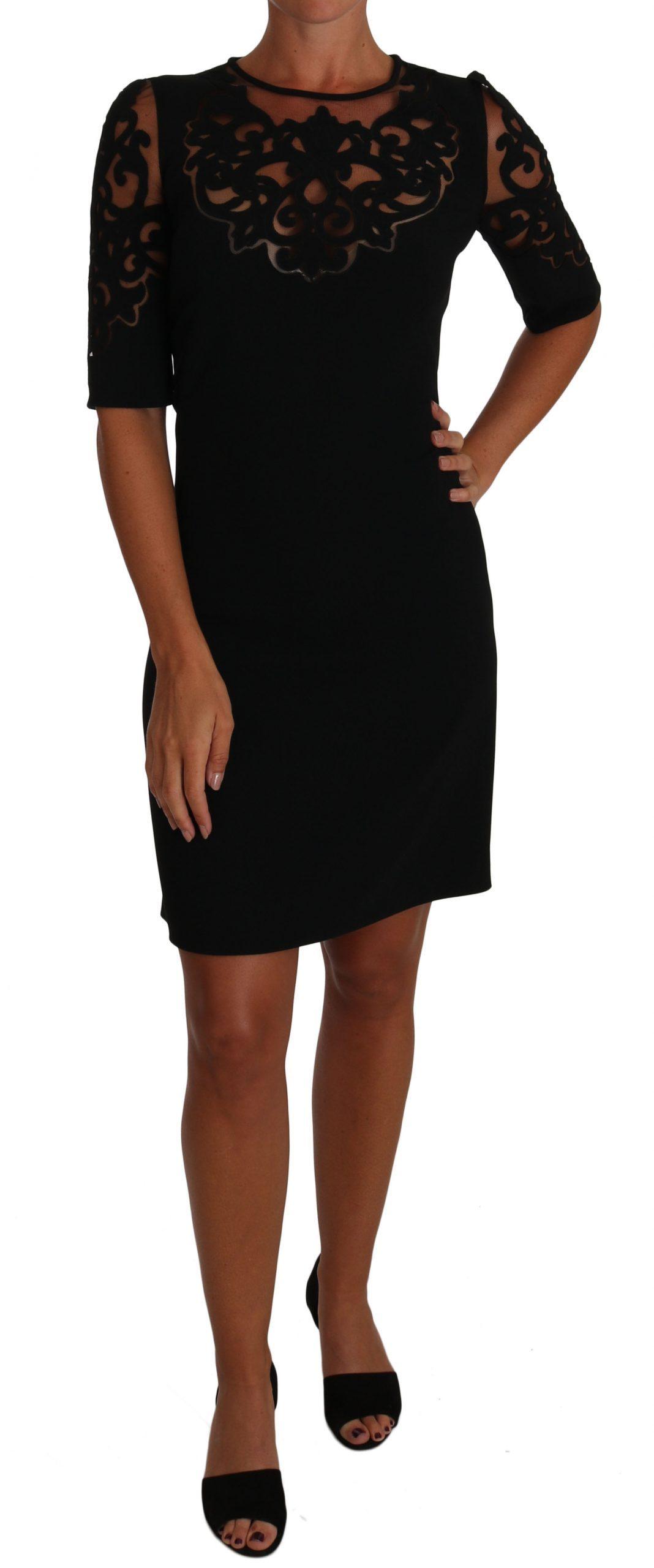 Dolce & Gabbana Women's Floral Cut Out Pattern Dress Black DR1506 - IT38|XS