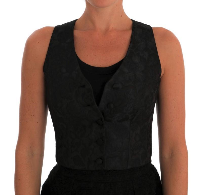 Dolce & Gabbana Women's Silk Floral Brocade Top Black TSH1548 - IT36|XXS
