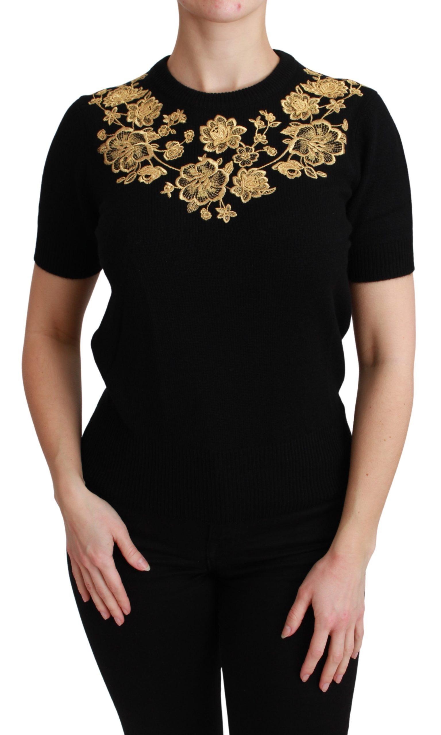 Dolce & Gabbana Women's Cashmere Gold Floral Sweater Black TSH4588 - IT40|S