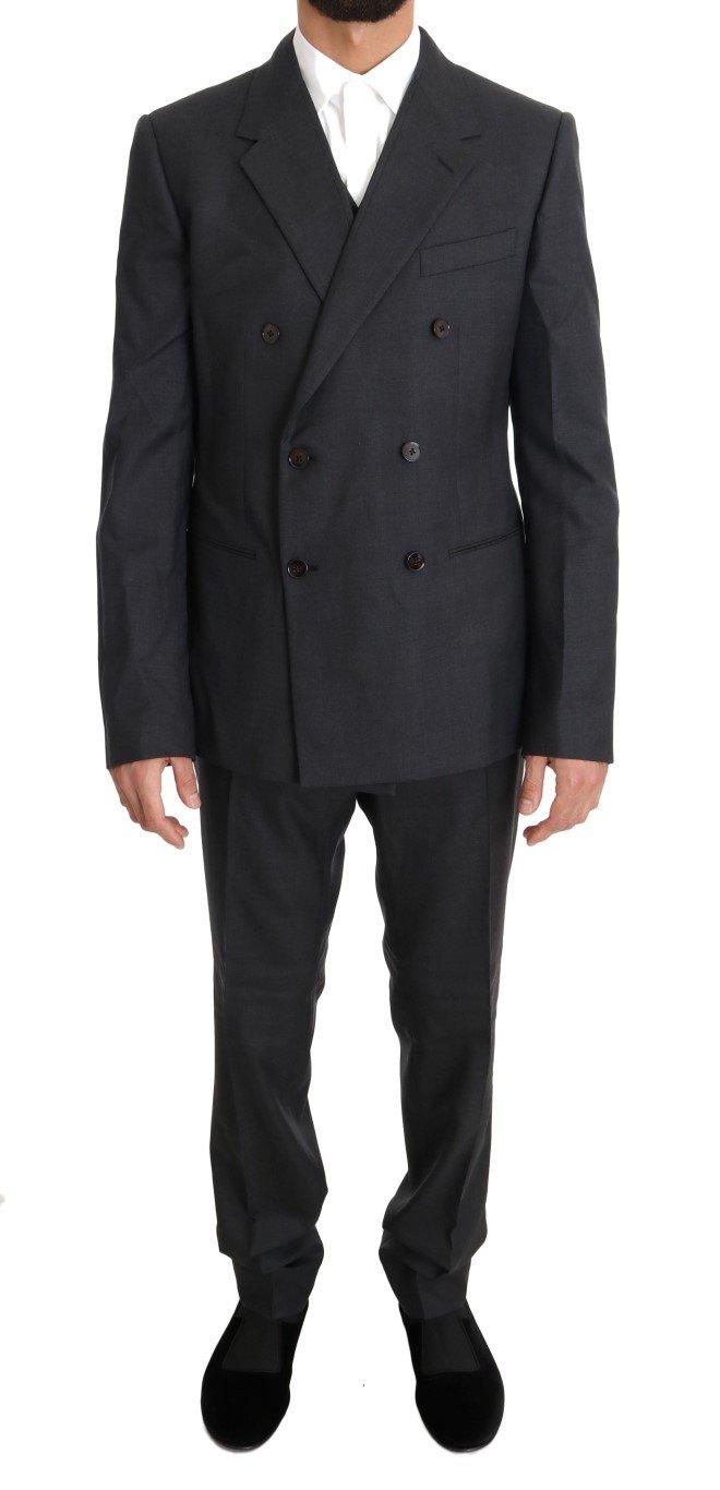 Dolce & Gabbana Men's Wool Silk Double Breasted Slim Suit Gray KOS1104 - IT50 | L