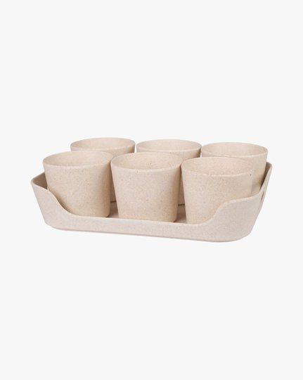 Cups 6 Pk 24x17x6,5 Cm Flowerpot, Vaaleanbeige, 24x17cm