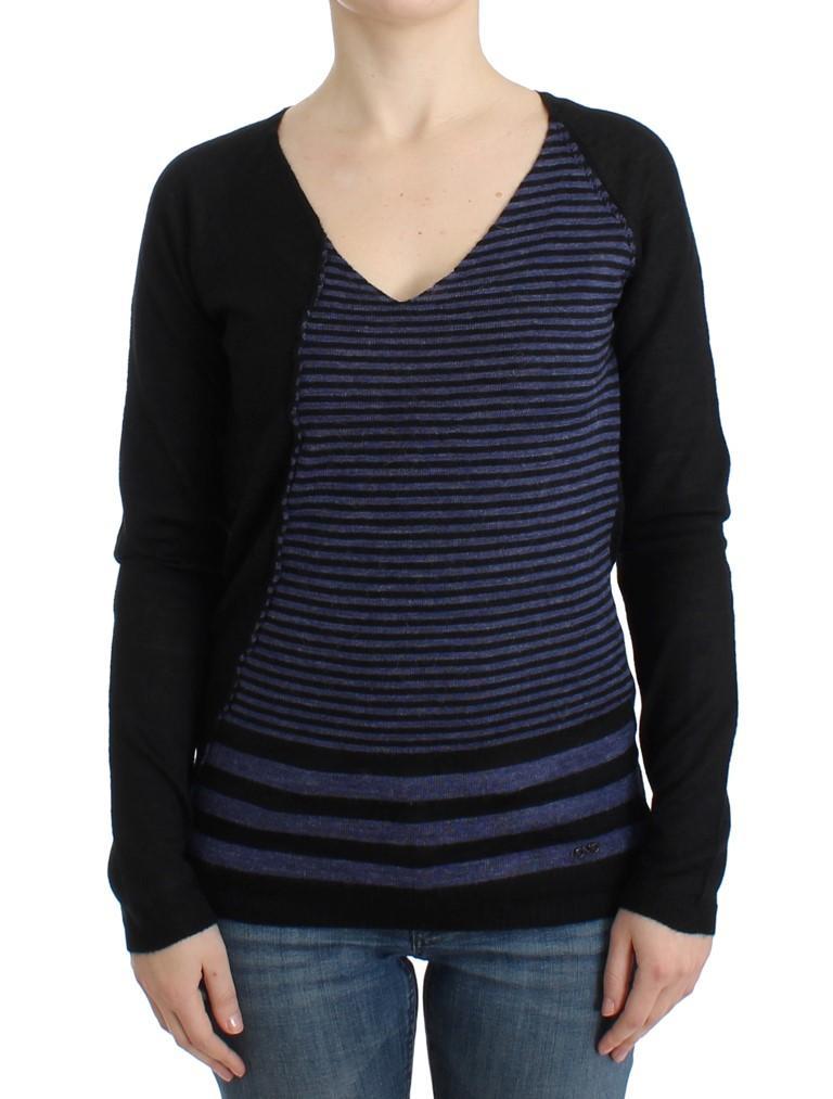 Costume National Women's striped V-neck Sweater Black SIG12050 - XS
