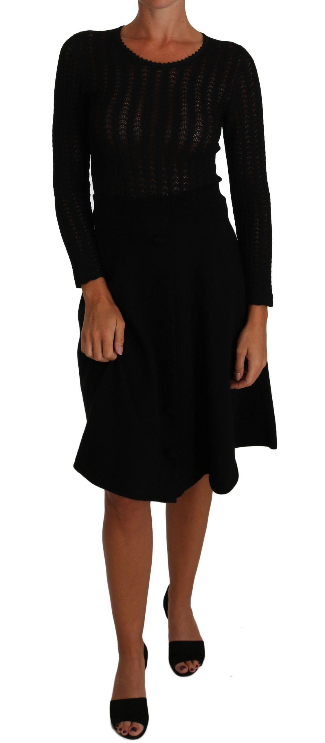 Dolce & Gabbana Women's Knitted Wool Sheath LS Dress Black DR1503 - IT40|S