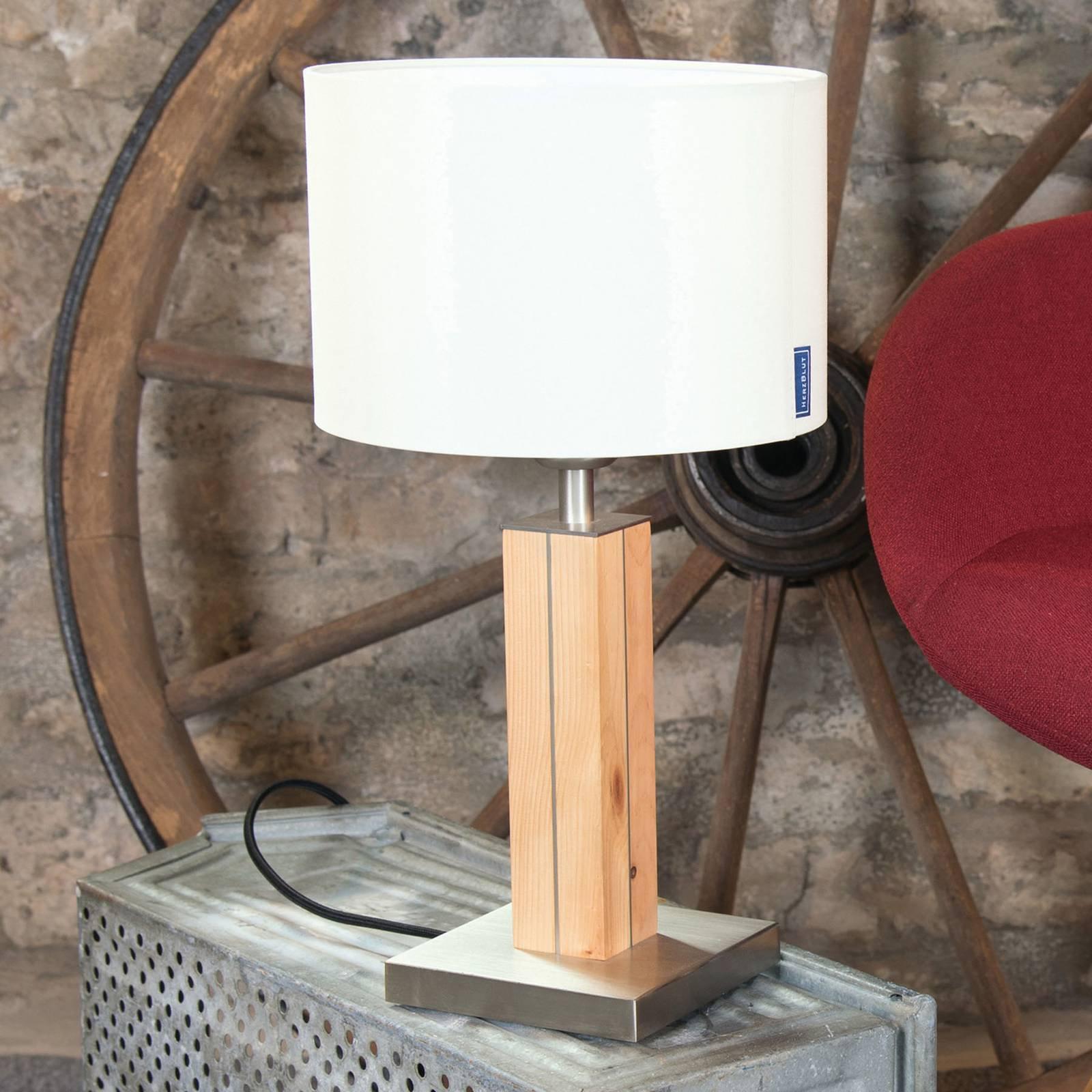 HerzBlut Dana bordlampe, sembrafuru, hvit, 41 cm