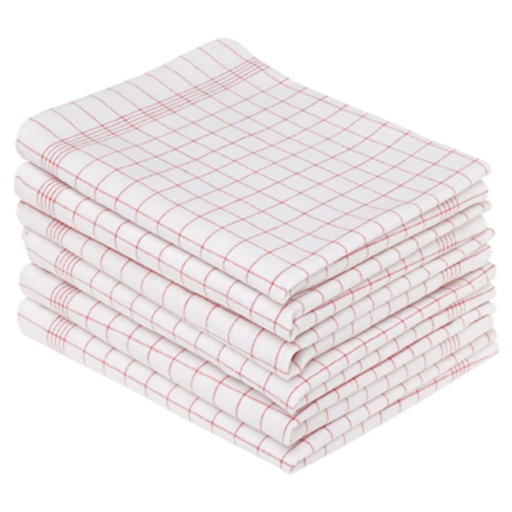 Glashandduk vit/röd 50 x 70 cm