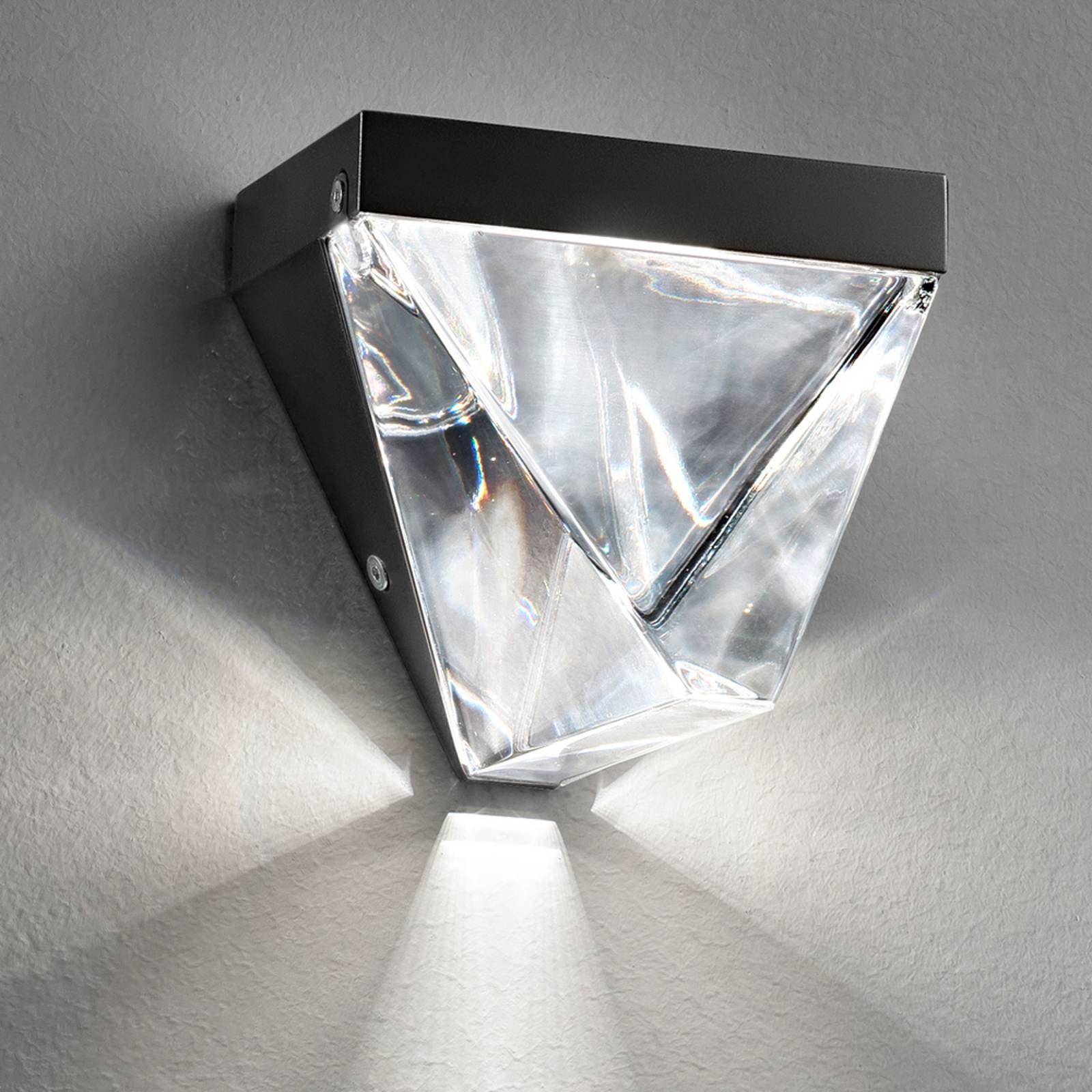 Fabbian Tripla - krystall-LED-vegglampe, antrasitt