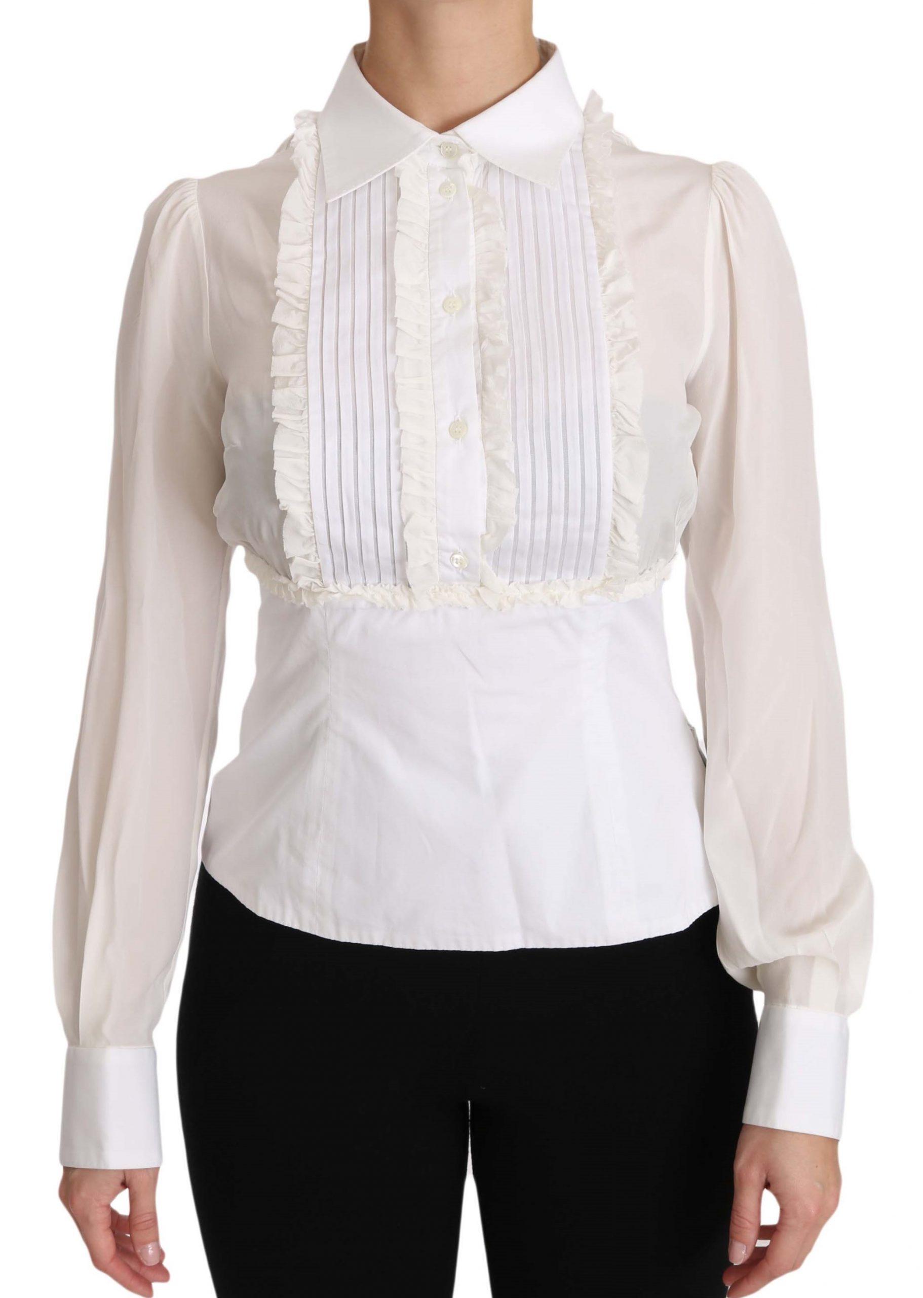 Dolce & Gabbana Women's Ruffle Longsleeved Shirt White TSH3177 - IT42|M