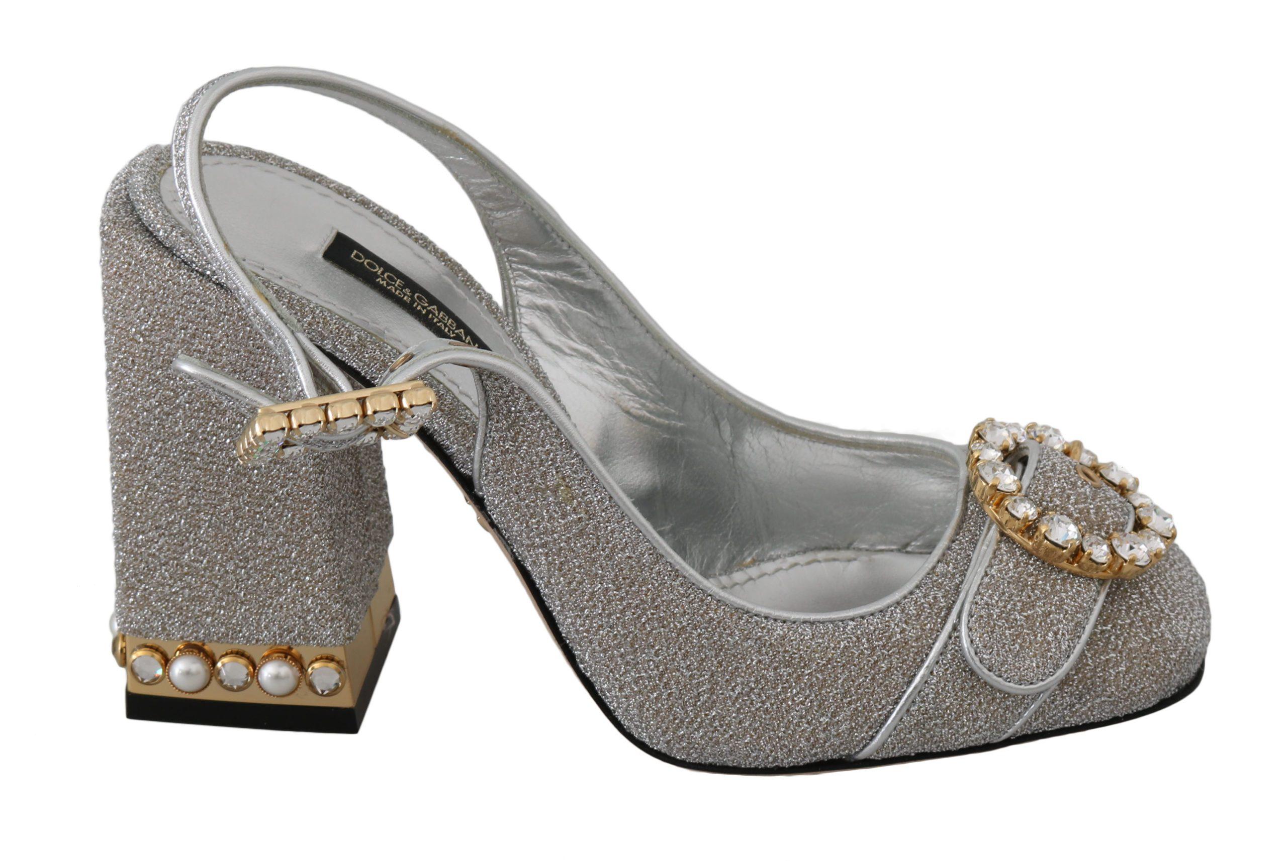 Dolce & Gabbana Women's Shiny Crystal Sandals Shoes Silver LA6307 - EU35.5/US5