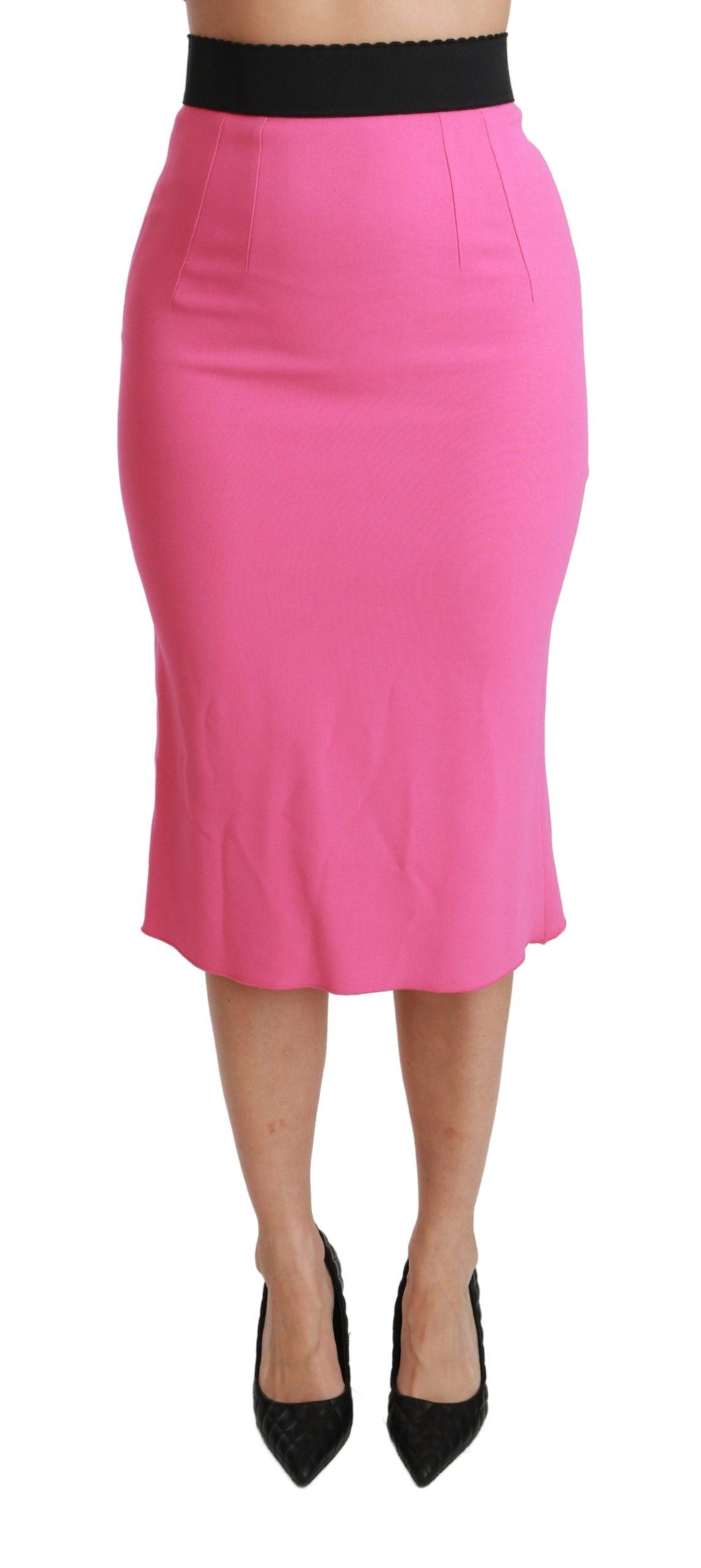 Dolce & Gabbana Women's High Waist Viscose Skirt Pink SKI1413 - IT38|XS