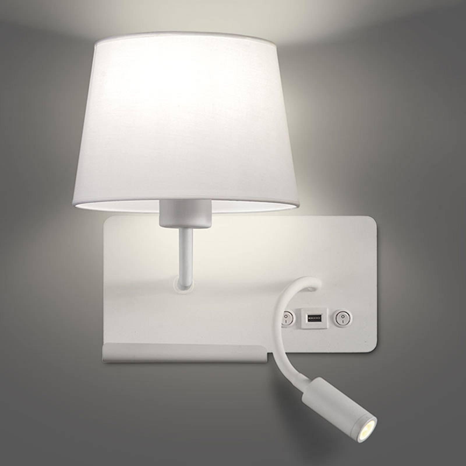 Vegglampe Hold venstre, inkl. lesearm og USB-port