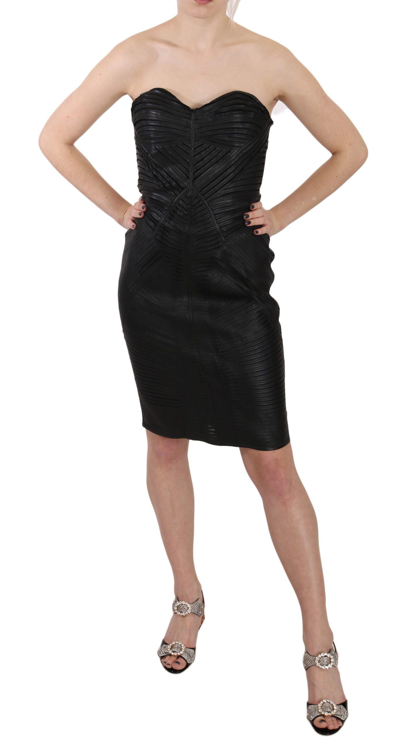 John Richmond Women's Leather Sheath Dress Black DR1676 - IT42|M